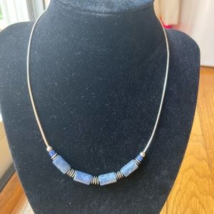 Sterling silver blue stone necklace